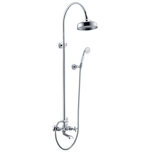 CUTHNA stribro система душевая (двухвентильный смеситель для ванны, верхний и ручной душ), хром