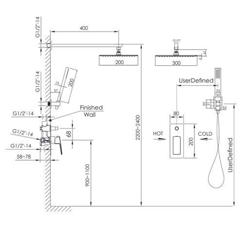 GRAFIKY комплект скрытого монтажа для душа (смеситель скрытого монтажа, верхн.душ, ручной душ) (ванная комната)