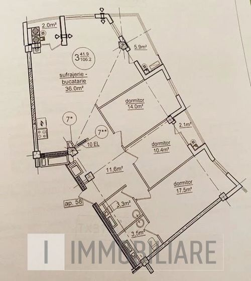 Apartament cu 3 camere+living, sect. Rîșcani, str. Bogdan Voievod.