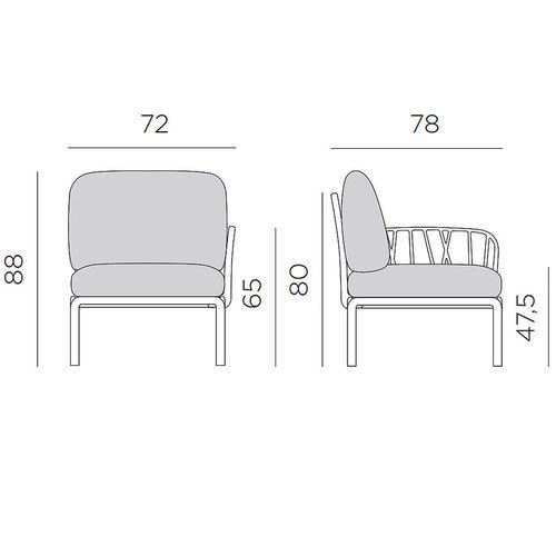 купить Кресло модуль правый / левый с подушками Nardi KOMODO ELEMENTO TERMINALE DX/SX TORTORA-canvas Sunbrella 40372.10.141 в Кишинёве