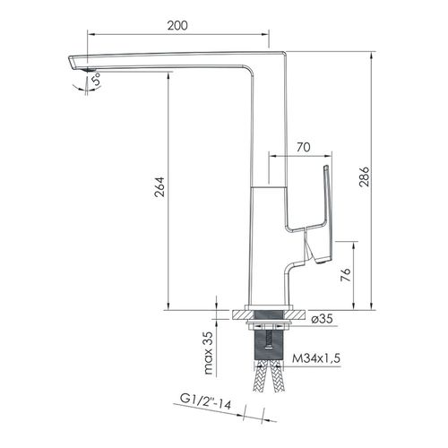 GRAFIKY смеситель для кухни, хром, 25 мм