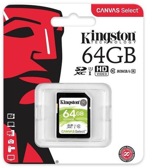 купить Kingston 64GB SDHC Canvas Select Class10 UHS-I, 400x, Up to: 80MB/s в Кишинёве