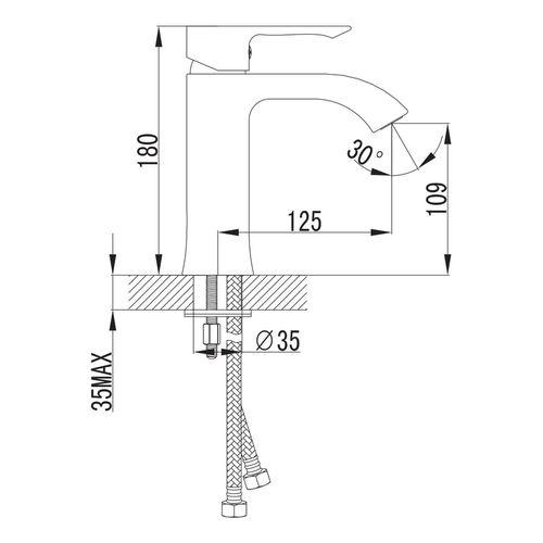 VYSKOV смеситель для умывальника, хром, 35 мм (ванная)