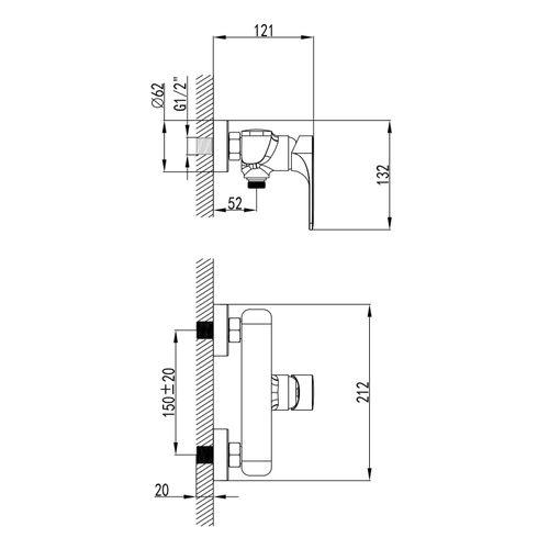 BILINA смеситель для душа, хром, 35 мм
