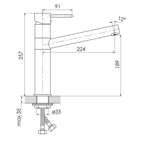 LOTTA смеситель для кухни 55402-SS, сталь, 40 мм (кухня)