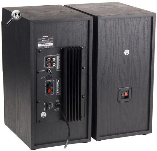 купить SVEN MC-20 Black,  2.0 / 2x45W RMS, Bluetooth v. 2.1 +EDR, Digital LED display, FM-tuner, USB flash, SD card, remote control, Headphone input, glossy black front panels, wooden. в Кишинёве