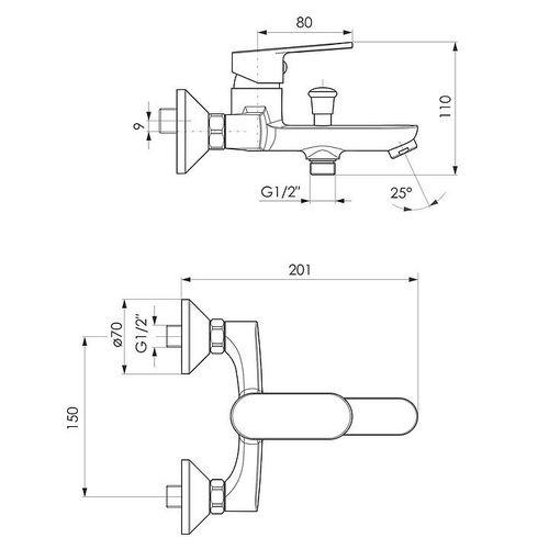 IMPRESE LASKA cмеситель для ванны, хром, 35 мм (ванная комната)
