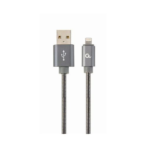 купить Gembird CC-USB2S-AMLM-1M-BG USB to Lightning  1M, Premium spiral metal USB to 8-pin charging and data cable for  Apple iPhone or iPad, up to 480 Mb/s, cotton braided, blister, grey в Кишинёве
