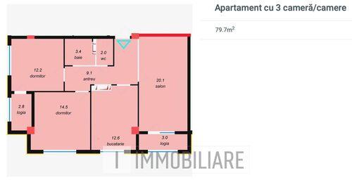 Apartament cu 3 camere, sect. Botanica, str. Vorniceni.