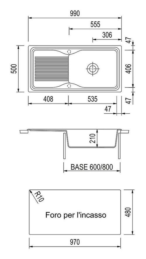 купить Мойка кухонная Plados DB09910 HARMONY-UNIVERSO microUltragranit в Кишинёве