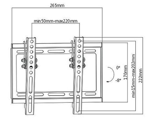 "купить Flat Panel Wall Support Brateck KL22-22T for TV screen size 23"" - 42"", Tilt from +0° to -8°, Super Slim design 20.5mm, VESA 50x50, 75x75, 100x100, 200x100, 200x200, 35Kg (suport de perete pentru TV/крепление подвес настенный кронштейн для телевизора) в Кишинёве"