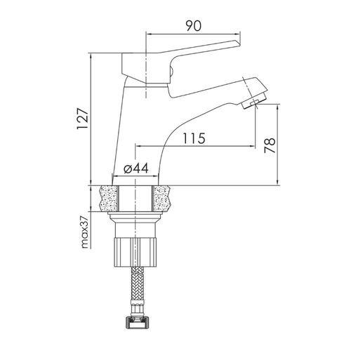 WITOW смеситель для умывальника, хром, 35 мм (ванная комната)