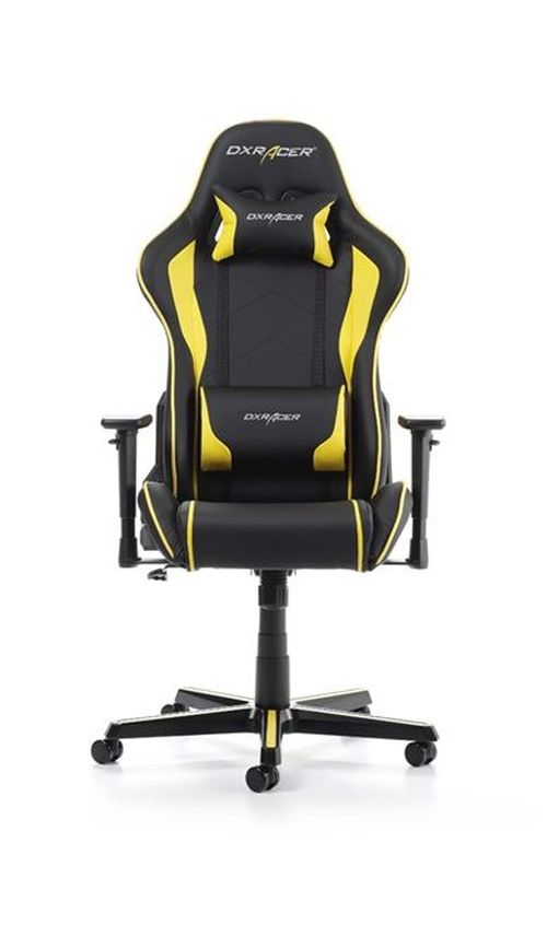 купить Gaming Chairs DXRacer - Formula GC-F08-NY-H1, Black/Black/Yellow - PU leather, Gamer weight up to 100kg / growth 145-180cm, Foam Density 52kg/m3, 5-star Aluminum IC Base, Gas Lift 4 Class, Recline 90*-135*, Armrests: 3D, Pillow-2, Caster-2*PU, W-23kg в Кишинёве