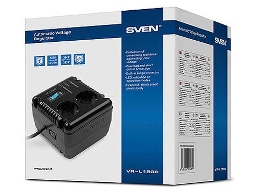 купить SVEN Automatic Voltage Regulator VR-L1500, 1500VA/500W, Input 184~285V, Output 230V -14/+10%, 1 socket (stabilizator de tensiune/стабилизатор напряжения) в Кишинёве