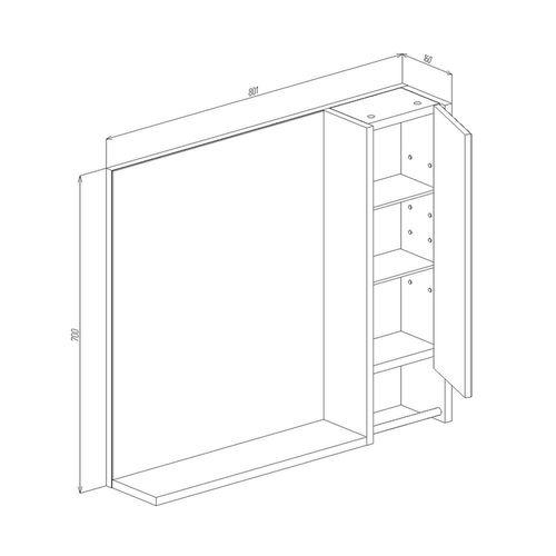 купить Selena Шкаф-зеркало белый структурный 800 R в Кишинёве