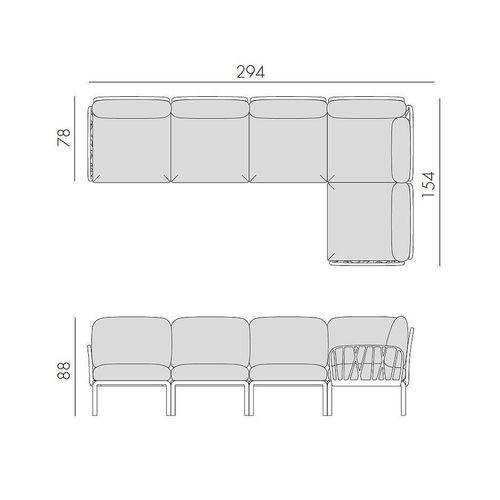 купить Диван с подушками Nardi KOMODO 5 TORTORA-canvas Sunbrella 40370.10.141 (Диван с подушками для сада и терас) в Кишинёве