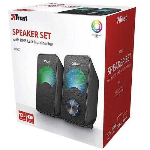 купить Колонки Active Speakers Trust Arys RGB Compact 2.0 Speaker Set, 12W, LED illumination with automated colour cycle, Black в Кишинёве