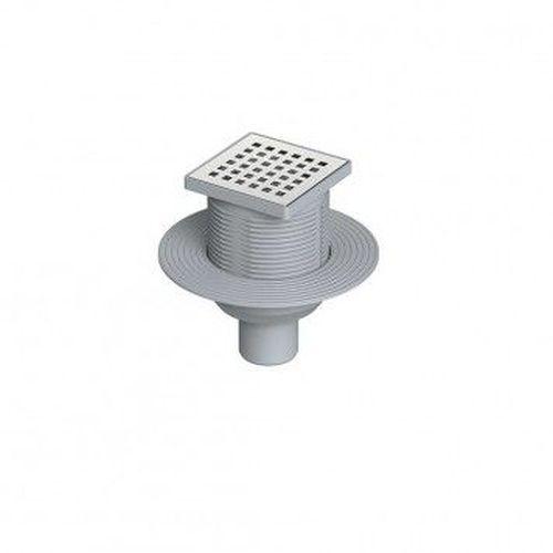 Комплект: трап с решеткой из нержавеющей стали + вертикальный выходной разъем 50 мм (0121291 + 0121296)