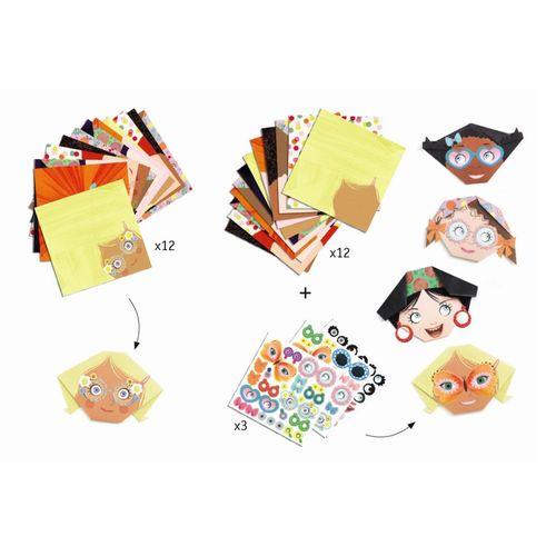 """купить Оригами с наклейками """"Милые личики"""" DJECO в Кишинёве"""