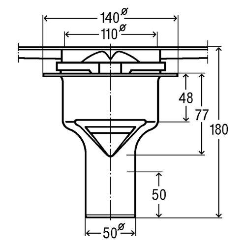 Сифон для душевого лотка Advantix (вертикальный выпуск) монтажная высота от 40 мм