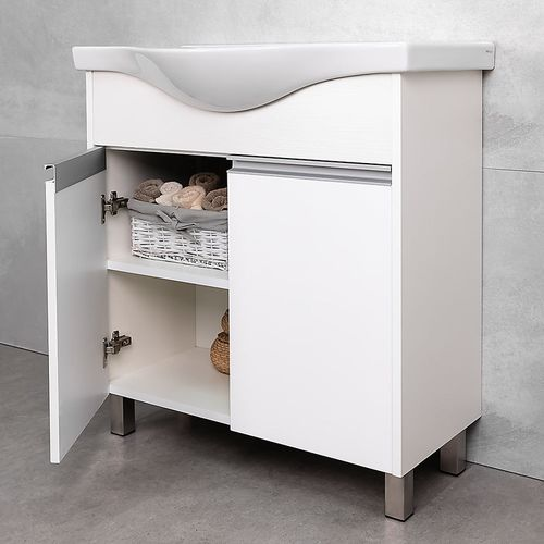 купить Elina Шкаф белый структурный с умывальником Alba 800 в Кишинёве