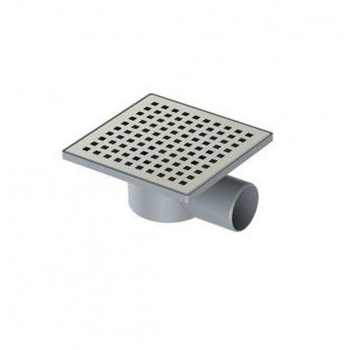 Трап пластиковый с решеткой из нержавеющей стали, боковой выход - 150 мм