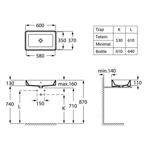 Комплект: GAP умывальник 60см, без отверстия под смеситель + NOVUS смеситель для умывальника 240, однорычажный