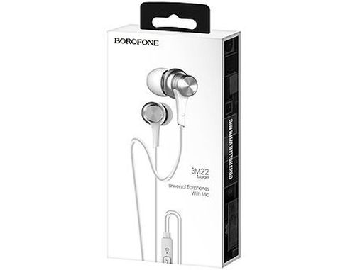 купить Borofone BM22 silver (095453) Boundless universal earphones with mic, Speaker 10mm, Cable length 1.2m, Microphone, support for Apple and Android в Кишинёве