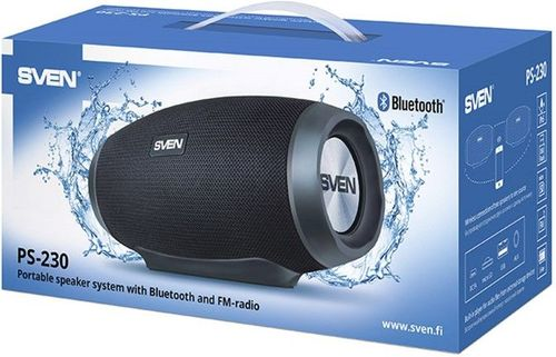 cumpără SVEN PS-230 Black, Bluetooth Waterproof Portable Speaker, 12W RMS, Water protection (IPx5), Support for iPad & smartphone, FM tuner, USB & microSD, TWS, built-in lithium battery -1500 mAh, ability to control the tracks, AUX stereo input în Chișinău