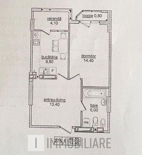Apartament cu 1 cameră+living, sect. Botanica, str. Nicolae Titulescu.
