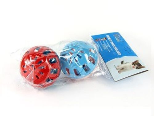 купить Мяч пластмассовый, с бубенчиком решетчат, d6см, разные цвета, 2шт в Кишинёве