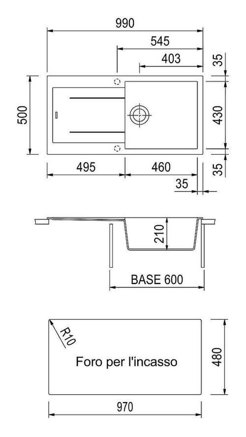 купить Мойка кухонная Plados AM9910 ELEGANCE Ultrametal в Кишинёве