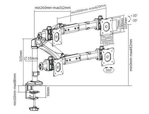 "купить Brateck LDT05-C011D Interactive Dual Monitor Desk Mount, 13""-24"" LCD monitors, +30° ~ -30° tilt; +90° ~ -90° swivel; 360° rotate, VESA: 75x75, 100x100, Arm Extend: 312mm, Clamp thickness: 10-88mm, Max load capacity 8Kg, Min 2Kg в Кишинёве"