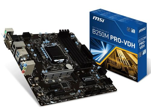 cumpără MSI B250M PRO-VDH, Socket 1151, Intel® B250, Dual 4xDDR4-2400, 1xPCIe X16, CPU Intel graphics, DVI, HDMI, 6xSATA3, 1xM.2 slot, 2xPCIe X1, ALC887 7.1ch HDA, GigabitLAN, 6xUSB3.1, Military Class 5, mATX în Chișinău