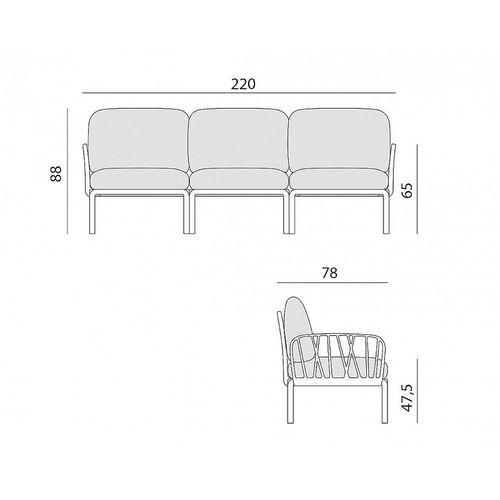купить Диван с подушками Nardi KOMODO 3 POSTI ANTRACITE-ghiaccio Sunbrella (Диван на 3 места с подушками для сада и терас) в Кишинёве