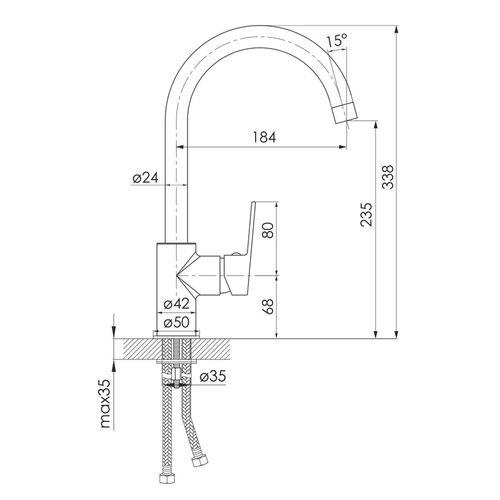 LESNA смеситель для кухни, хром, 35 мм (кухня)
