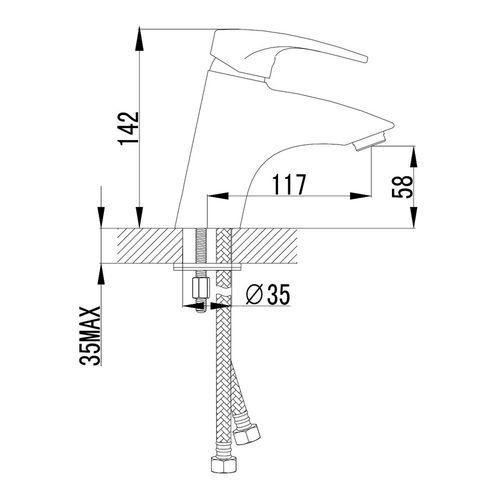 JESENIK смеситель для раковины, хром, 35 мм (ванная комната)