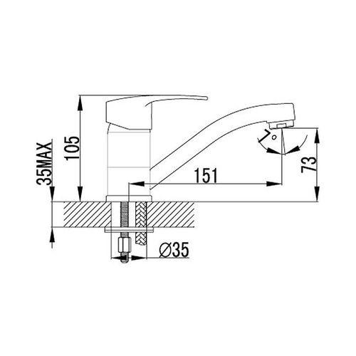 IMPRESE JESENIK смеситель для кухни, хром, 35 мм