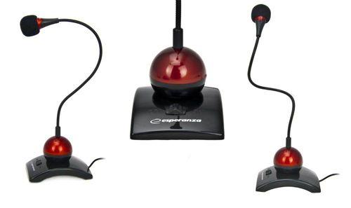 cumpără Esperanza EH130 (EA130), Chat Desktop Microfone with Switch on/off, Black/Red în Chișinău