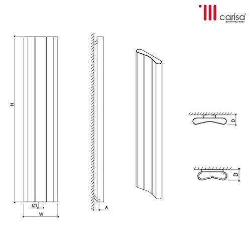 купить Дизайнерский радиатор  Carisa CURVY 1800×745  alum TXWhite в Кишинёве