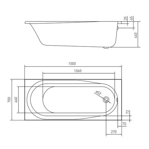 AIVA ванна 150*70*44см без ножек, акрил 5мм
