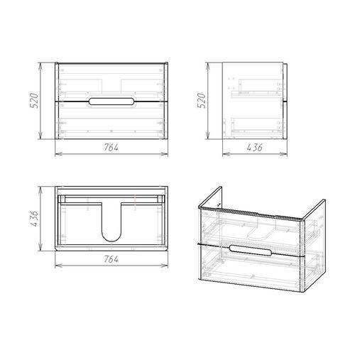 Set mobilier PUERTA 80cm gri: dulap montat pe perete, 2 sertare + lavoar montat la suprafață art 13-16-018