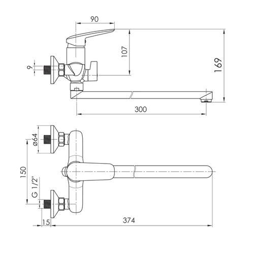 PRAHA new смеситель для ванны, L-излив 300 мм, хром, 35 мм (ванная комната)