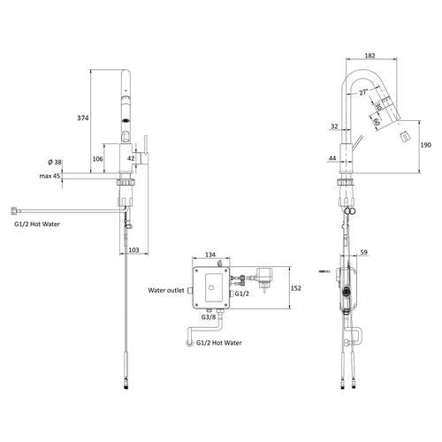 SMART bio смеситель для кухни с дозатором, хром, 35 мм (кухня)