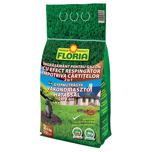 Удобрение для газона с репеллентным эффектом от кротов Флория (2.5 килограмм)