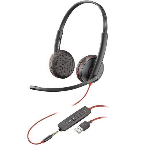 купить Plantronics Blackwire 3225 Stereo USB-A/ Jack 3.5mm Headset 209747-101, Microphone noise-canceling, SoundGuard, DSP, output 20 Hz–20 kHz, Mic 100 Hz–10 kHz, Remote call control в Кишинёве