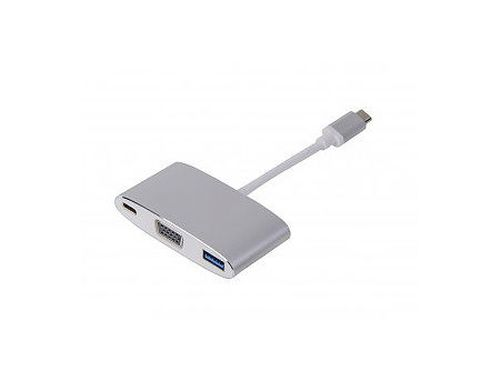 купить LMP USB-C (m) to VGA & USB 3.0 (f) & USB-C charging Multiport Adapter, aluminum housing, silver (15093) в Кишинёве