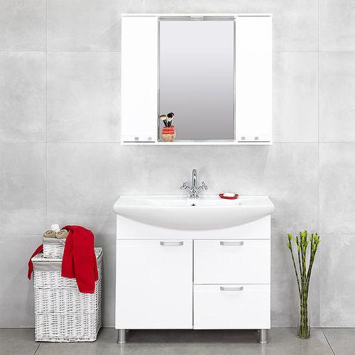 купить Rivera Шкаф-зеркало белый Дуо 970 в Кишинёве