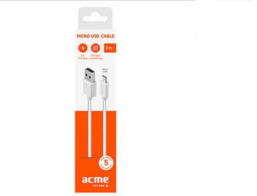 купить ACME CB1012W micro USB cable, 2m, White в Кишинёве
