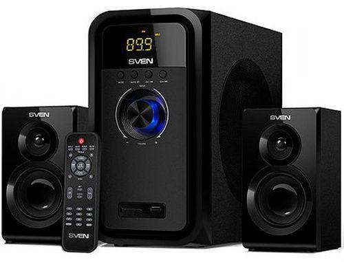 купить Active Speakers SVEN MS-2051 Black, mini music system: LED display, remote, Bluetooth, FM Tuner, USB port, SD slot ( 2.1 surround, RMS 55W, 30W subwoofer, 2x12.5W Satellites ) в Кишинёве